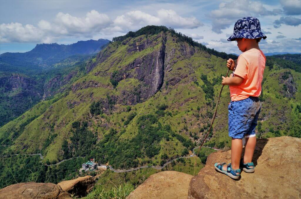 boy on mountain top