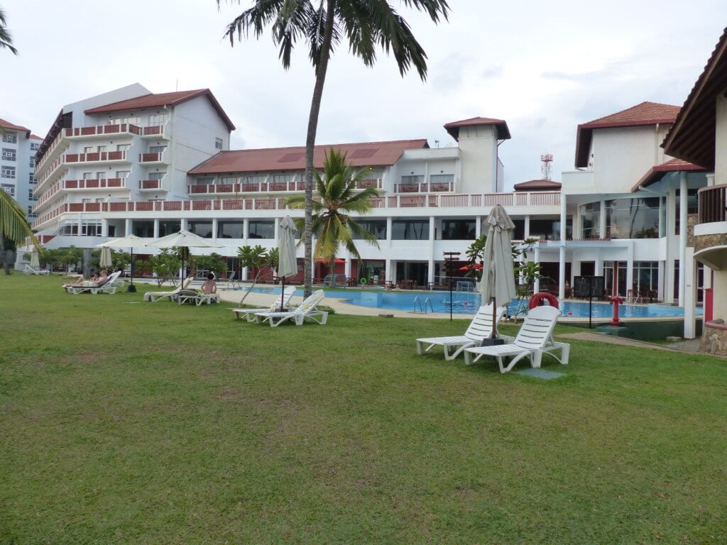 hotel complex with lawn