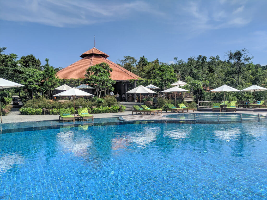 main pool and restaurant at Green Bay Resort, Phu Quoc