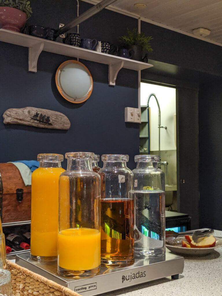 breakfast juice drinks at Gauksmýri Lodge
