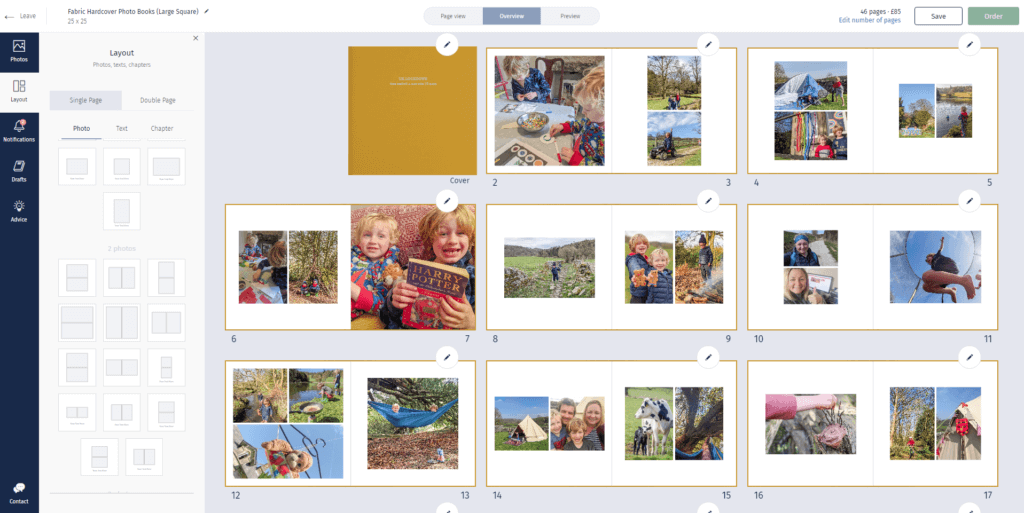 Rosemood photobook online editor