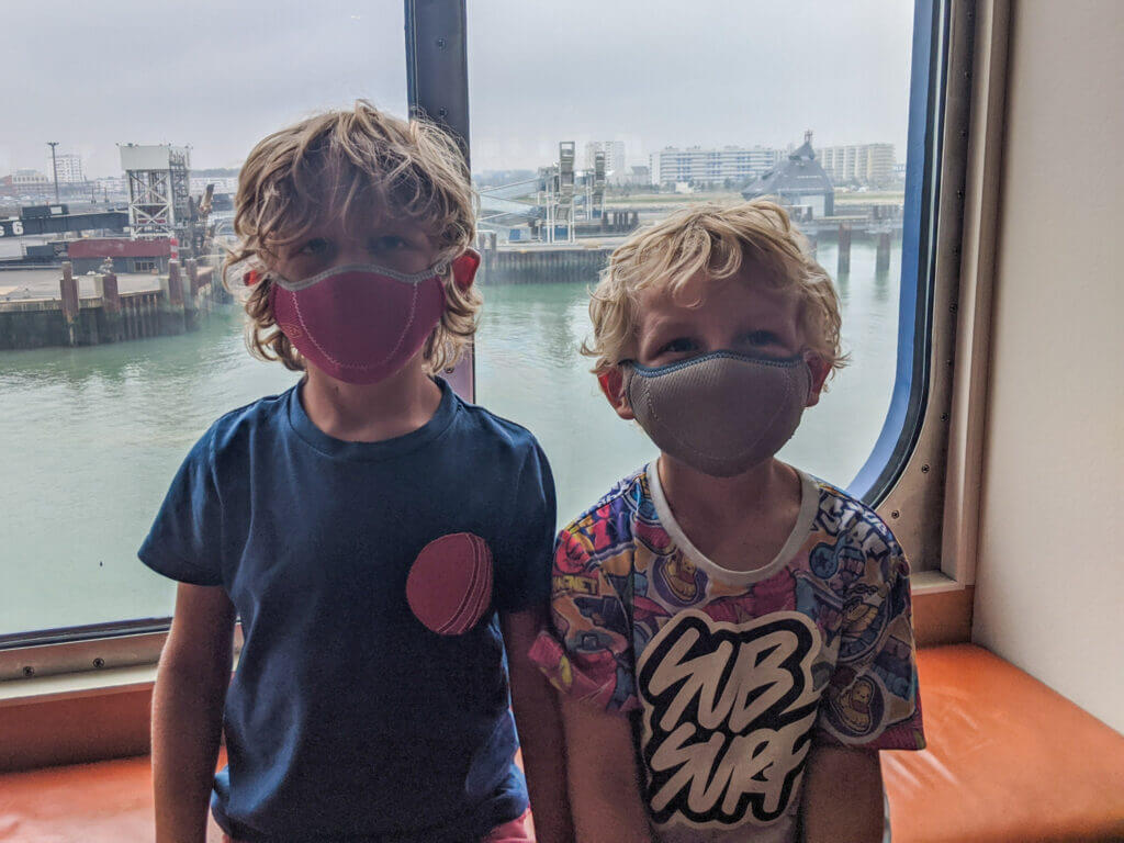 wearing masks on the ferry